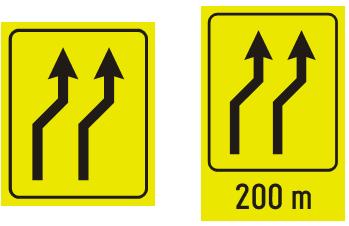 """Знак """"скретање саобраћаја из једне коловозне траке у другу""""<br>III.86 III-86.1"""
