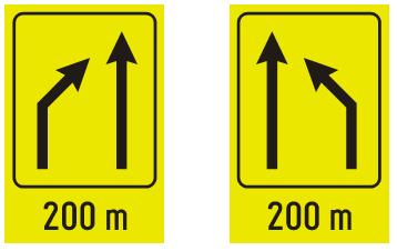 """Знак """"предзнак за затварање саобраћајне траке""""<br> III-88 и III-88.1"""