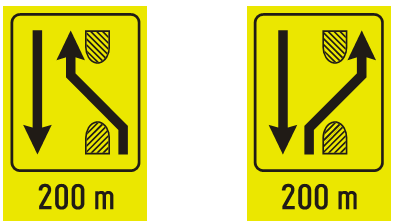 """Знакови """"предзнак за преусмеравање саобраћаја на путу са физички раздвојеним коловозима""""<br>III-89 III-89.1"""