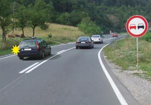 preticanje zabranjeno saobracajnim znakom