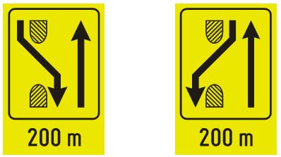 """Знакови """"предзнак за преусмеравање саобраћаја на путу са физички раздвојеним коловозима""""<br>III-89.2 III-89.3"""